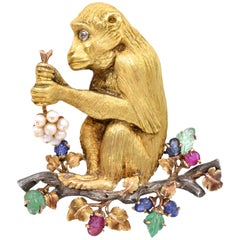 Buccellati Gold Monkey Brooch