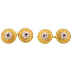 Buccellati Gold Ruby Cufflinks