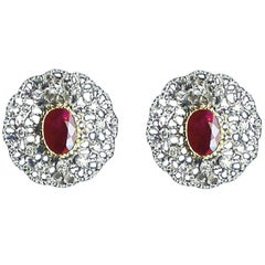 Buccellati Gold, Diamond and 4.63 Carat Ruby Earrings