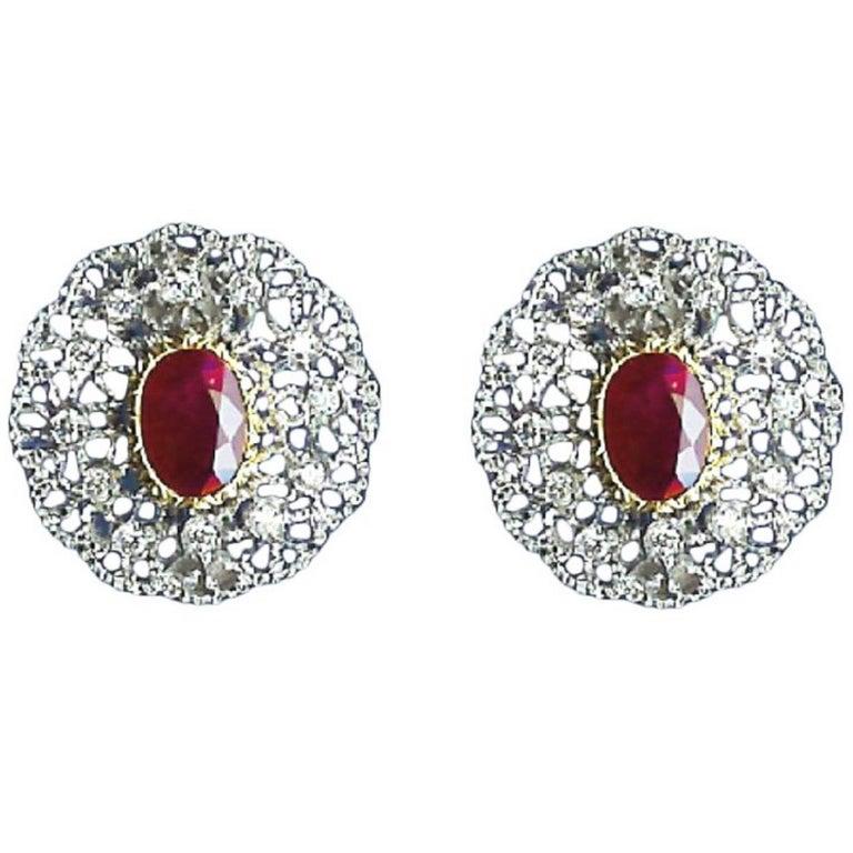 Buccellati Gold, Diamond and 4.63 Carat Ruby Earrings