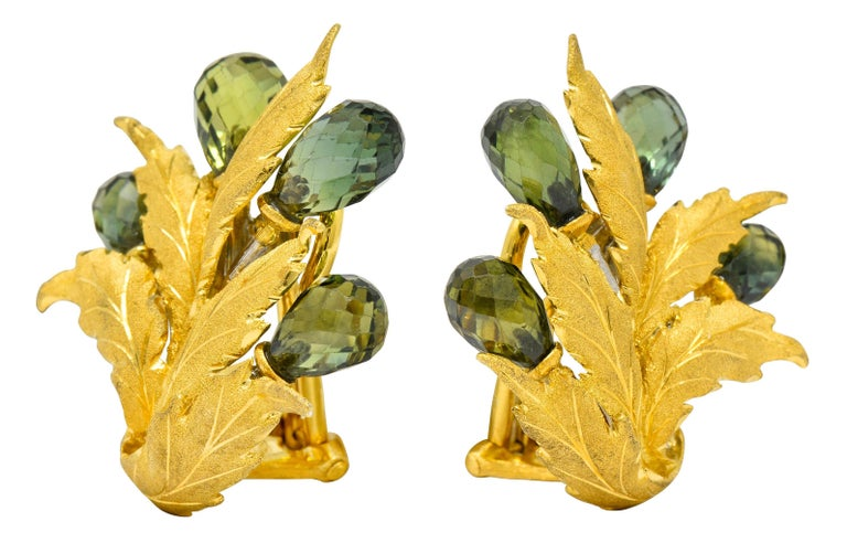 Contemporary Buccellati Green Sapphire Briolette 18 Karat Two-Tone Gold Leaf Clip Earrings For Sale