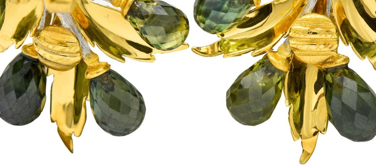 Briolette Cut Buccellati Green Sapphire Briolette 18 Karat Two-Tone Gold Leaf Clip Earrings For Sale