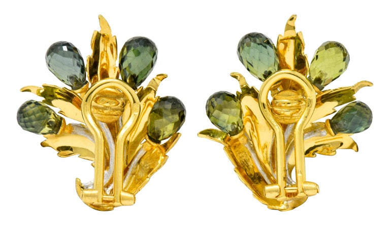 Women's or Men's Buccellati Green Sapphire Briolette 18 Karat Two-Tone Gold Leaf Clip Earrings For Sale