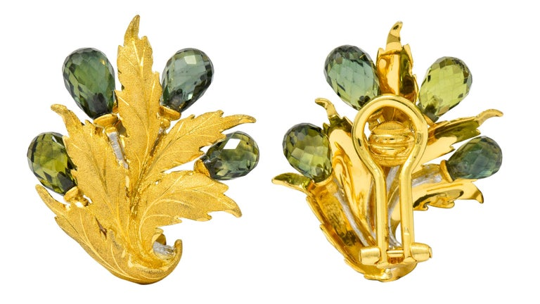 Buccellati Green Sapphire Briolette 18 Karat Two-Tone Gold Leaf Clip Earrings For Sale 1
