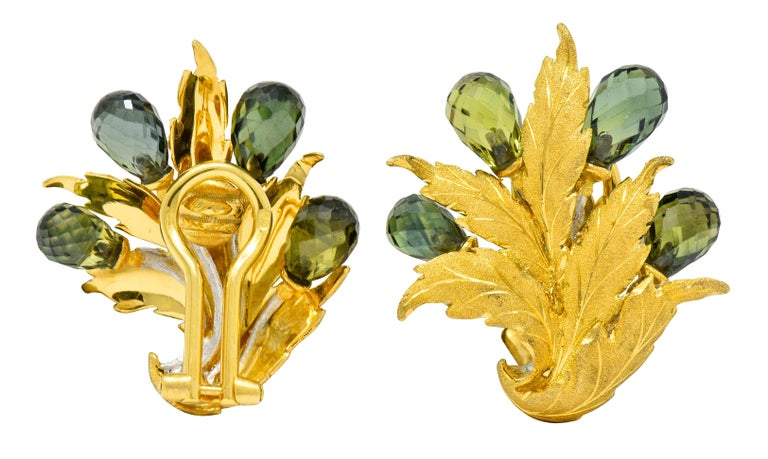 Buccellati Green Sapphire Briolette 18 Karat Two-Tone Gold Leaf Clip Earrings For Sale 2