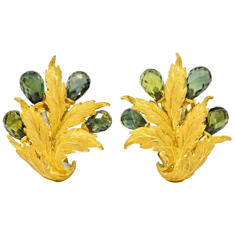 Buccellati Green Sapphire Briolette 18 Karat Two-Tone Gold Leaf Clip Earrings For Sale