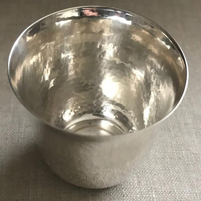 Buccellati handmade sterling silver drinks cup  Footed base with beautiful bead work and hand hammering One is available, special order for additional items.   Designer: Buccellati  Maker: Buccellati  Design #: N/A  Factory New  Dimensions:
