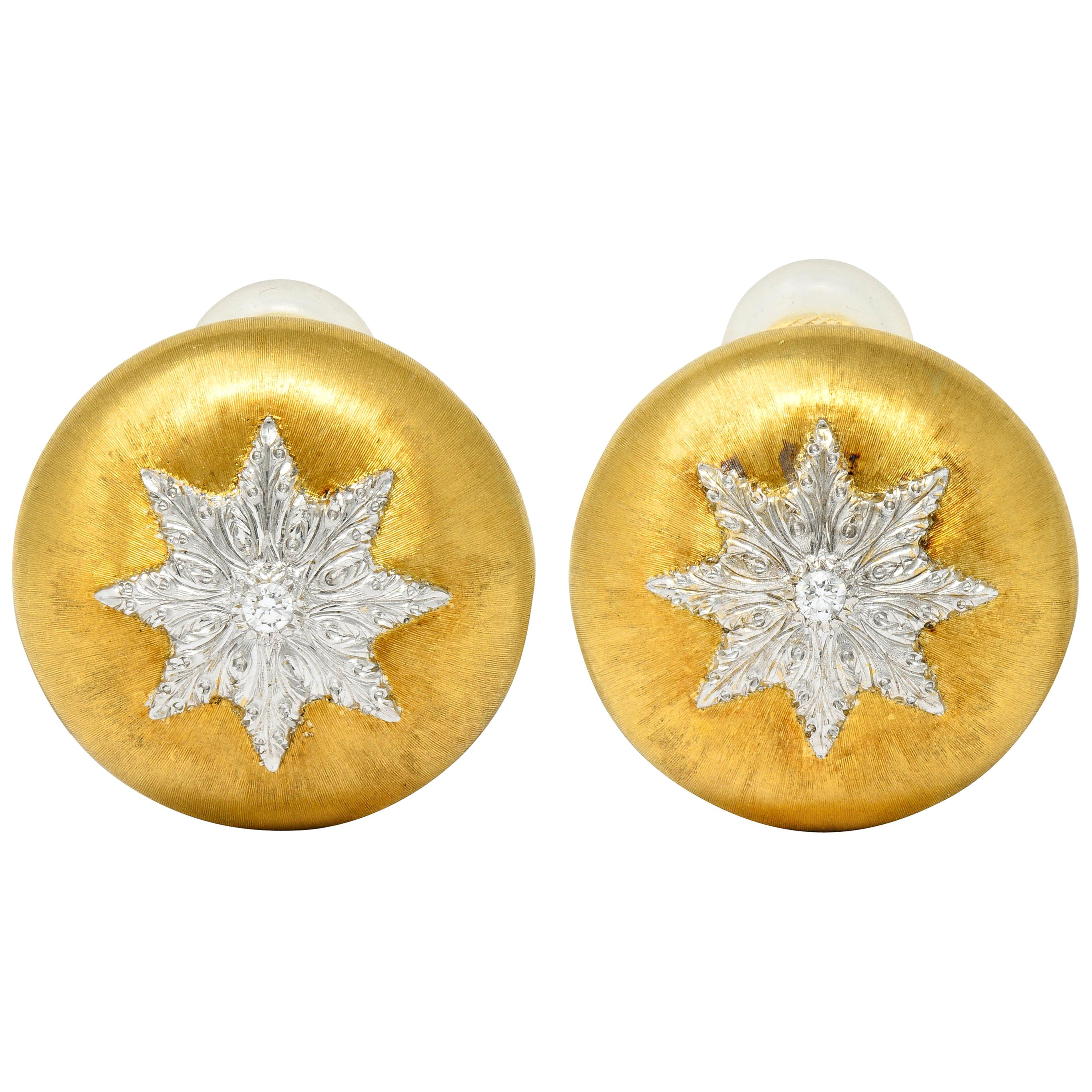 Buccellati Italian Diamond 18 Karat Two-Toned Gold Snowflake Ear-Clip Earrings