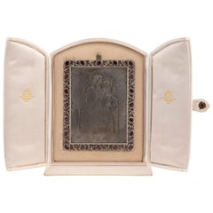 Buccellati Italian Framed and Gem-Set Traveling Silver Icon