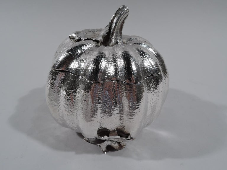 Modern Buccellati Italian Sterling Silver Figural Pumpkin Gourd Box