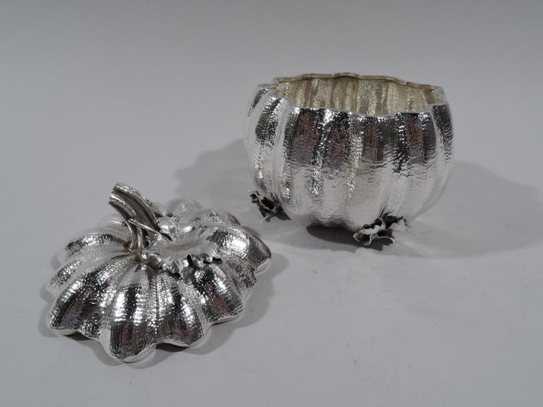 Buccellati Italian Sterling Silver Figural Pumpkin Gourd Box In Excellent Condition For Sale In New York, NY
