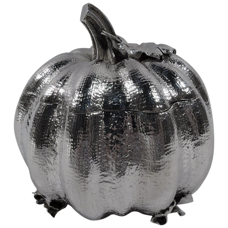 Buccellati Italian Sterling Silver Figural Pumpkin Gourd Box For Sale