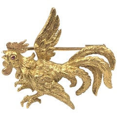 Buccellati Italy Yellow Gold Rooster Brooch