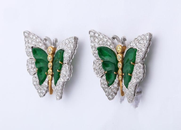 Buccellati Jade Diamond Butterfly Earclips For Sale 6