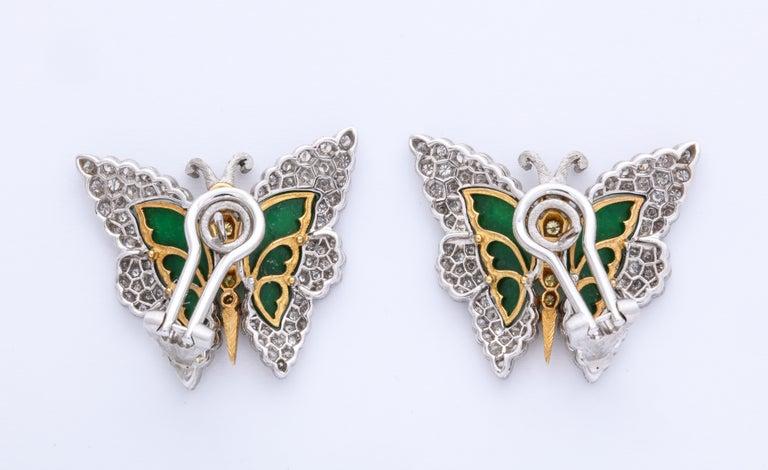 Buccellati Jade Diamond Butterfly Earclips For Sale 7