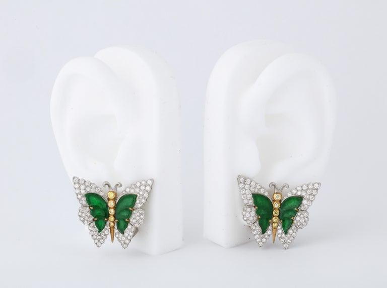 Women's Buccellati Jade Diamond Butterfly Earclips For Sale