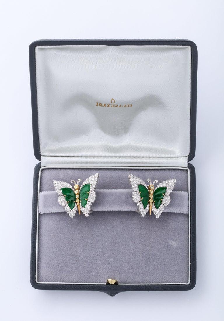 Buccellati Jade Diamond Butterfly Earclips For Sale 1