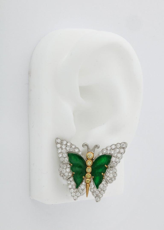 Buccellati Jade Diamond Butterfly Earclips For Sale 2