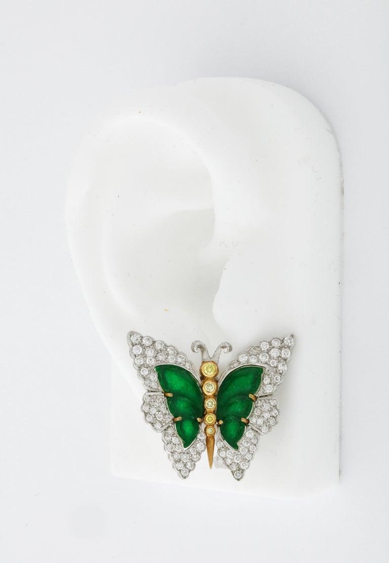 Buccellati Jade Diamond Butterfly Earclips For Sale 3