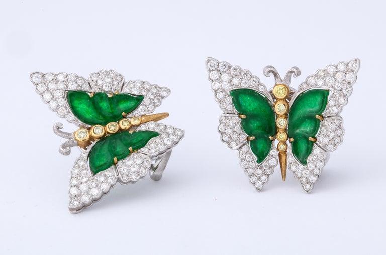 Buccellati Jade Diamond Butterfly Earclips For Sale 4