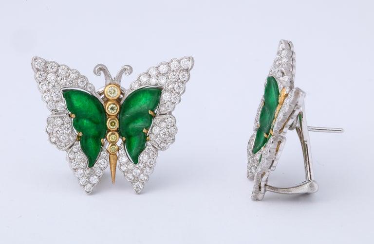 Buccellati Jade Diamond Butterfly Earclips For Sale 5