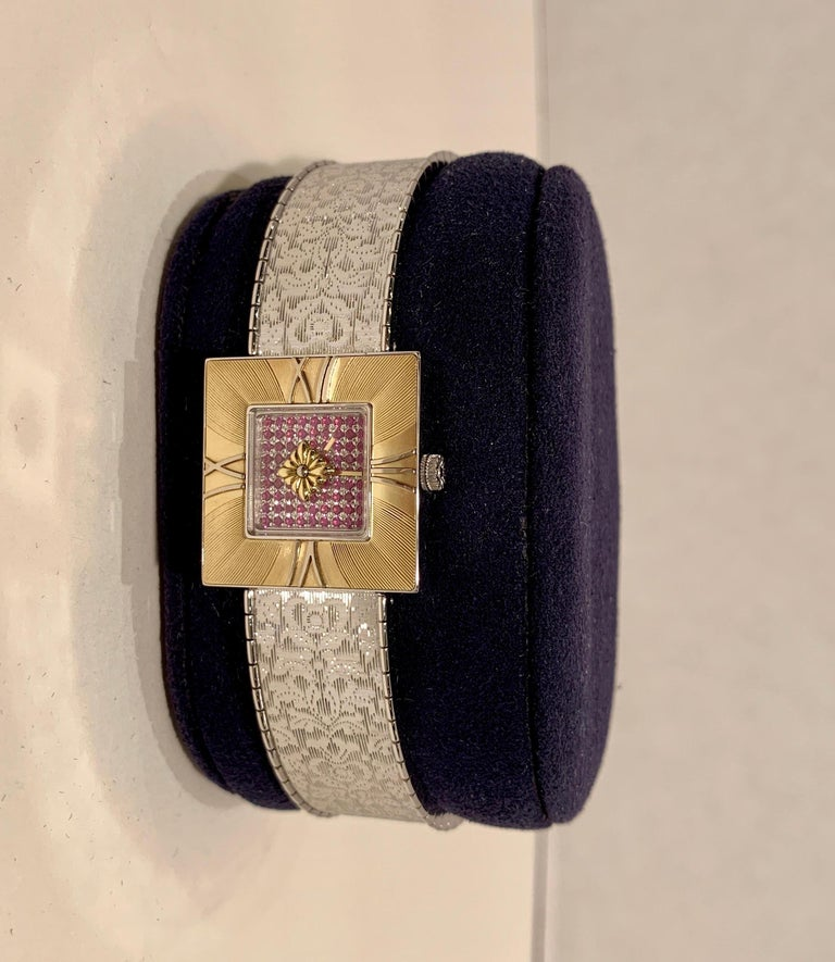 Contemporary Buccellati Ladies Watch Milano Dal 1919 Agalma Damasco Agalmachron Ruby 18K Gold For Sale
