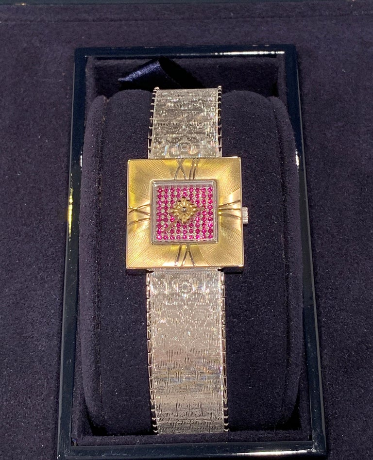 Buccellati Ladies Watch Milano Dal 1919 Agalma Damasco Agalmachron Ruby 18K Gold In Excellent Condition For Sale In Tustin, CA