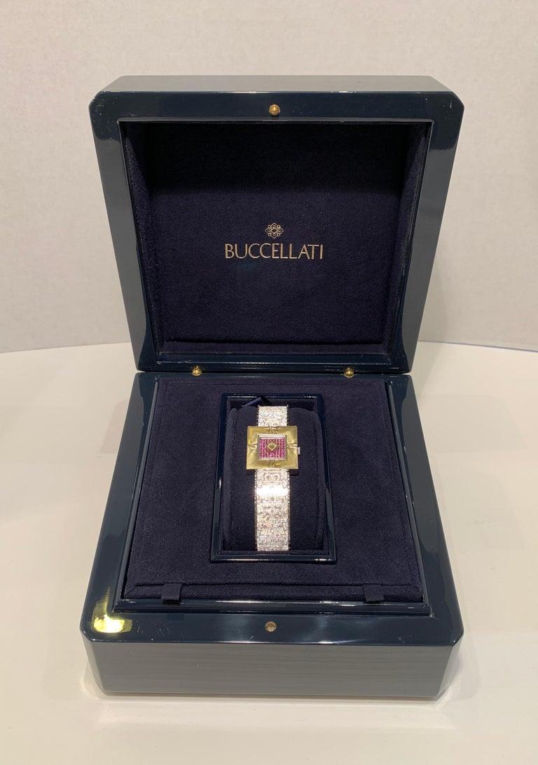 Buccellati Ladies Watch Milano Dal 1919 Agalma Damasco Agalmachron Ruby 18K Gold For Sale 3