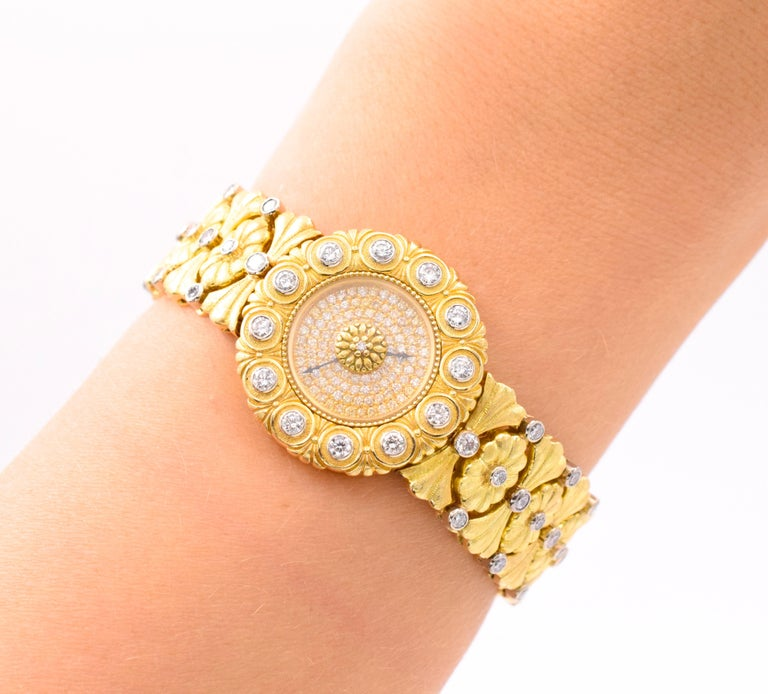 Buccellati Ladies Gold and Diamond Watch For Sale 1
