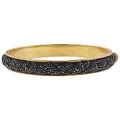 Buccellati Leaf Gold Burnished Silver Bangle Bracelet