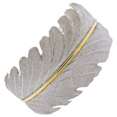 Buccellati Leaf Gold Silver Cuff Bracelet