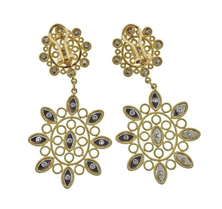 Round Cut Buccellati Carlotta Diamond Gold Drop Earrings