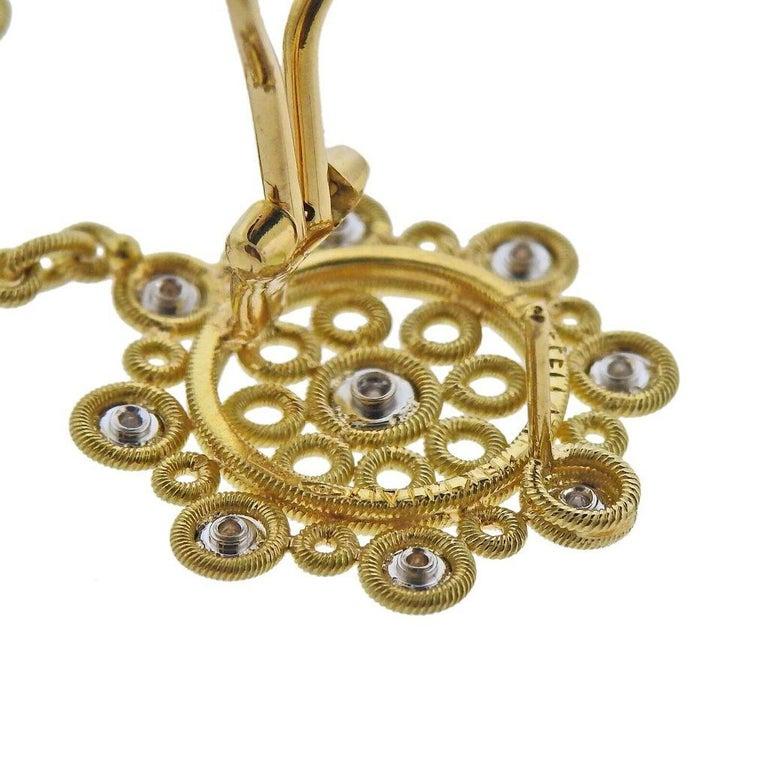 Buccellati Carlotta Diamond Gold Drop Earrings In Excellent Condition In Boca Raton, FL