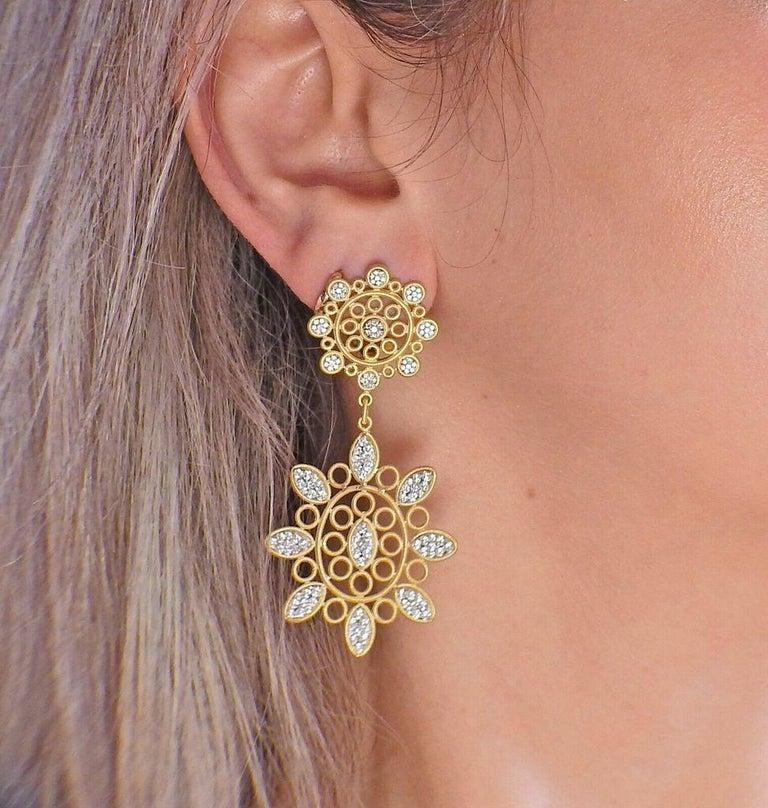 Women's Buccellati Carlotta Diamond Gold Drop Earrings