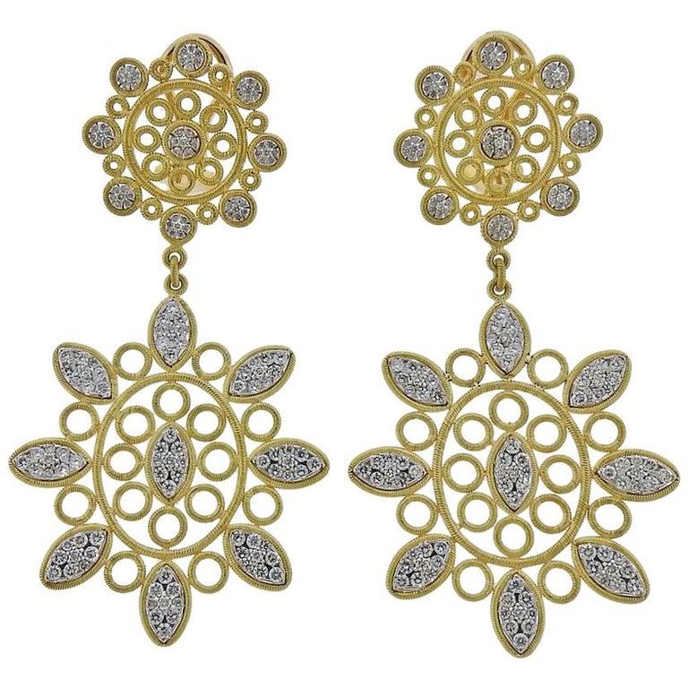 Buccellati Carlotta Diamond Gold Drop Earrings