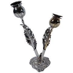 Buccellati Modern Sterling SIlver Figural Stem Flower Salt and Pepper Shakers