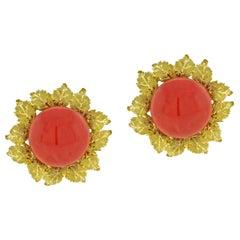 Buccellati Oak Leaf Coral Earrings