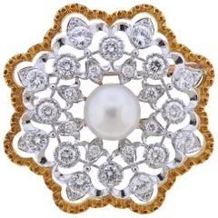 Buccellati Pearl Diamond Gold Brooch