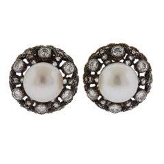 Buccellati Pearl Diamond Gold Silver Earrings