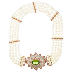 Buccellati Pearl Pink Sapphire Peridot Necklace with Detachable Brooch