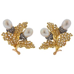 Buccellati Pearl Rose Cut Diamond Gold Leaf Motif Earrings