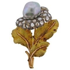 Buccellati Pearl Rose Cut Diamond Silver Gold Brooch Pin