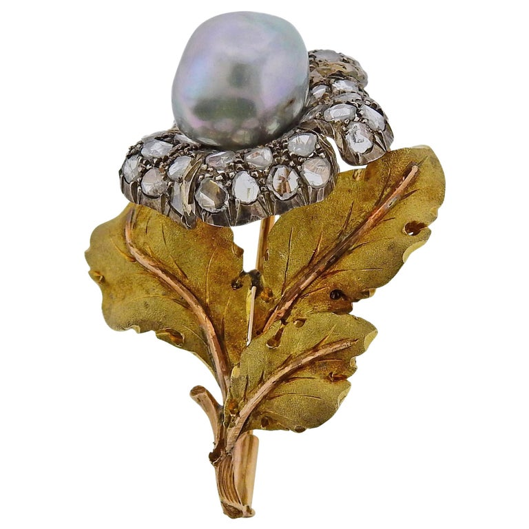 Buccellati Pearl Rose Cut Diamond Silver Gold Brooch Pin For Sale