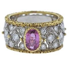 Buccellati Pink Sapphire Diamond Gold Band Ring
