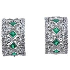 Buccellati Prestigio Diamond Emerald Gold Hoop Earrings