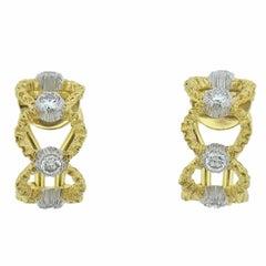 Buccellati Prestigio Diamond Gold Openwork Hoop Earrings