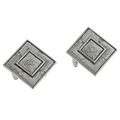 Buccellati Prestigio Diamond Square Gold Earrings