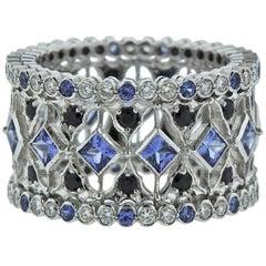 Buccellati Prestigio White Gold Diamond Sapphire Band Ring