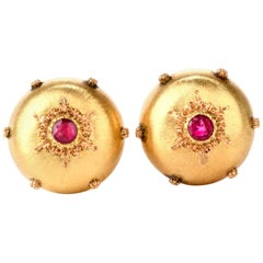 Buccellati Puffed Satin Ruby 18 Karat Button Earrings