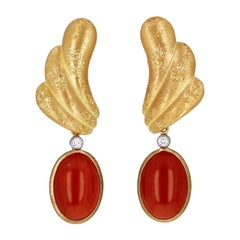 Buccellati Red Coral Diamond and Gold Drop Day to Night Earrings